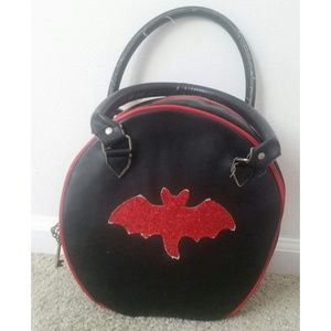 Red Glitter Bat Bowling Bag Style Purse, Pin-Up